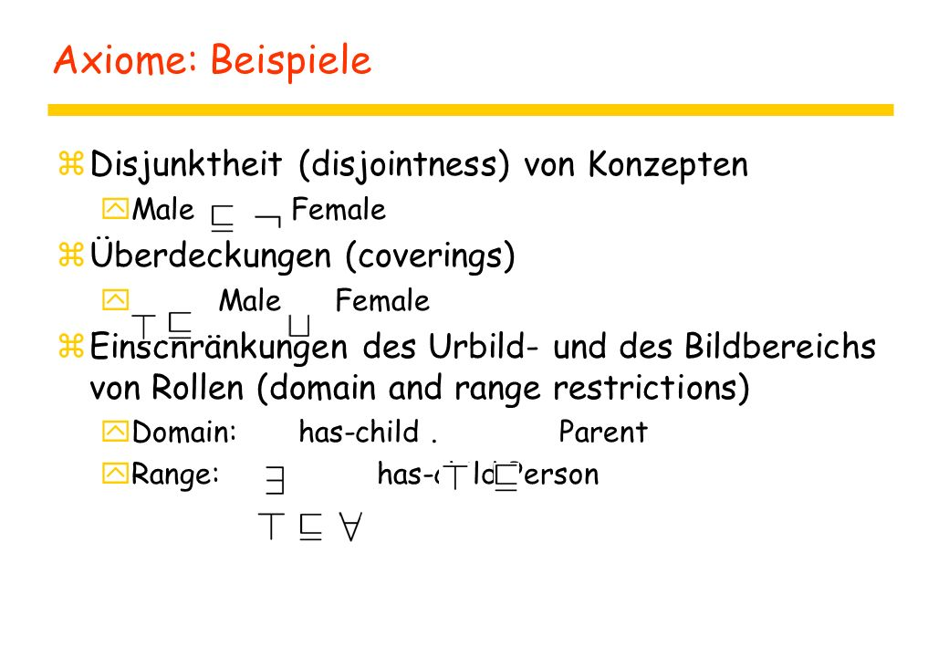 Axiome: Beispiele zDisjunktheit (disjointness) von Konzepten yMale Female zÜberdeckungen (coverings) y Male Female zEinschränkungen des Urbild- und des Bildbereichs von Rollen (domain and range restrictions) yDomain: has-child.