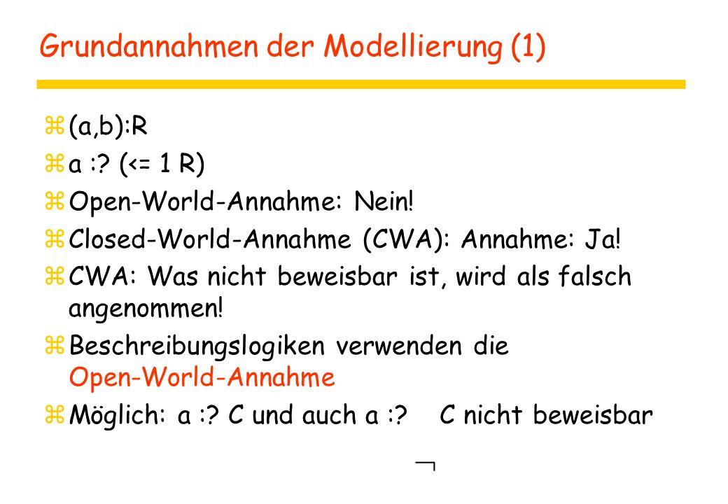 Grundannahmen der Modellierung (1) z(a,b):R za :? (<= 1 R) zOpen-World-Annahme: Nein! zClosed-World-Annahme (CWA): Annahme: Ja! zCWA: Was nicht beweis