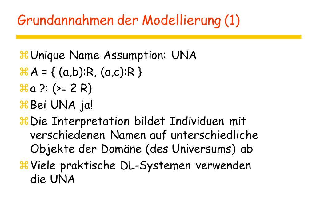 Grundannahmen der Modellierung (1) zUnique Name Assumption: UNA zA = { (a,b):R, (a,c):R } za ?: (>= 2 R) zBei UNA ja! zDie Interpretation bildet Indiv