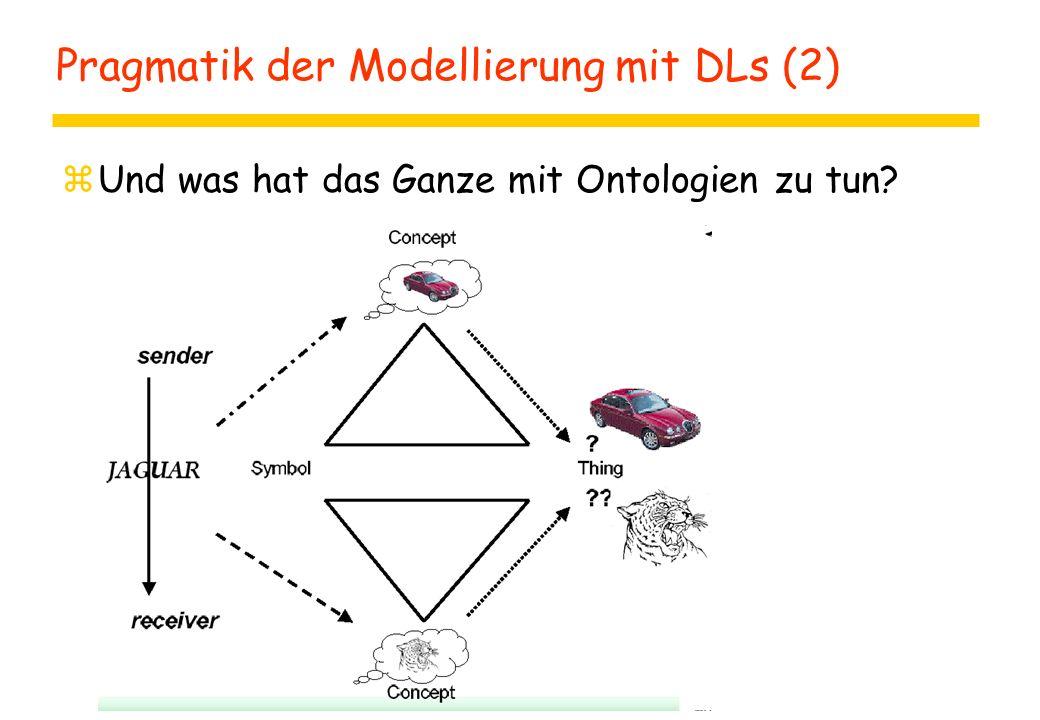 Pragmatik der Modellierung mit DLs (2) zUnd was hat das Ganze mit Ontologien zu tun?