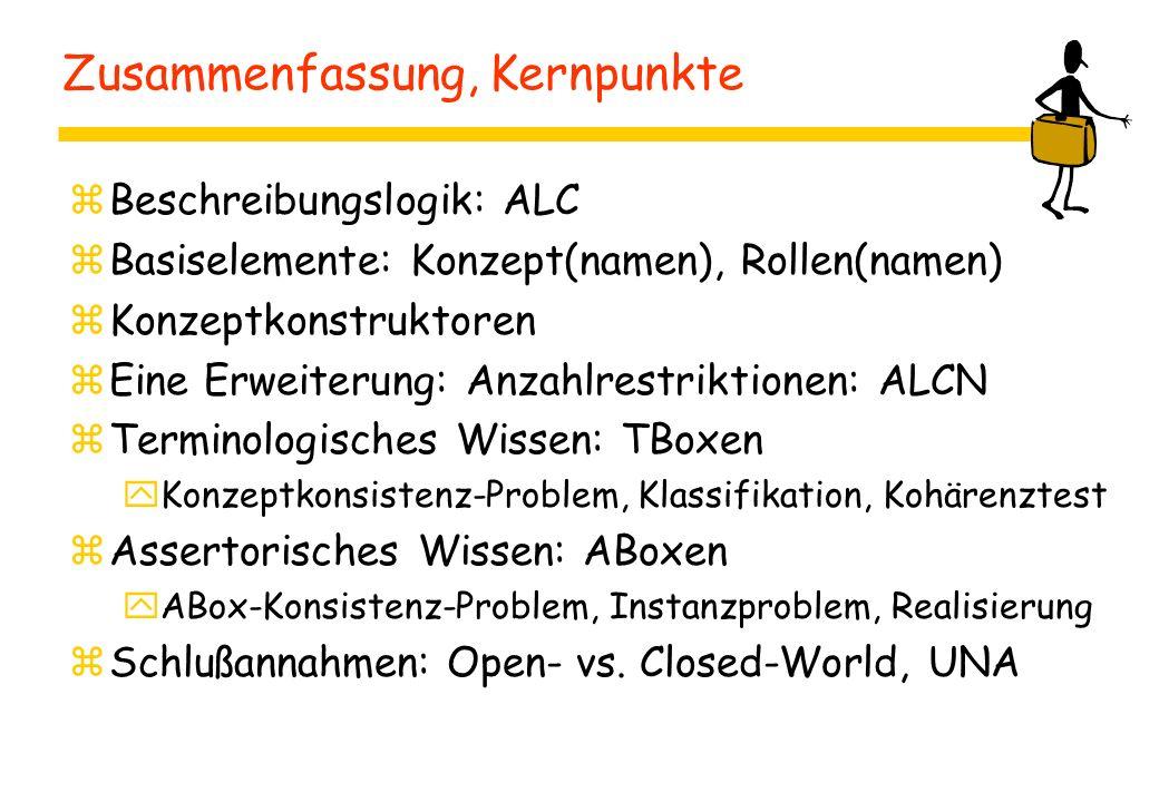 Zusammenfassung, Kernpunkte zBeschreibungslogik: ALC zBasiselemente: Konzept(namen), Rollen(namen) zKonzeptkonstruktoren zEine Erweiterung: Anzahlrestriktionen: ALCN zTerminologisches Wissen: TBoxen yKonzeptkonsistenz-Problem, Klassifikation, Kohärenztest zAssertorisches Wissen: ABoxen yABox-Konsistenz-Problem, Instanzproblem, Realisierung zSchlußannahmen: Open- vs.