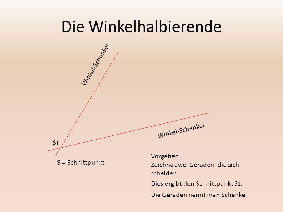 Winkel-Schenkel Vorgehen: Zeichne zwei Geraden, die sich scheiden. Dies ergibt den Schnittpunkt S 1. Die Geraden nennt man Schenkel. S1S1 S = Schnittp