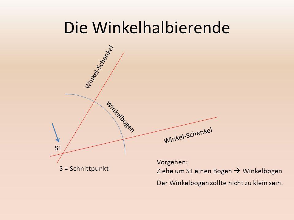 Die Winkelhalbierende Winkel-Schenkel Winkelbogen Vorgehen: Ziehe um S 1 einen Bogen  Winkelbogen Der Winkelbogen sollte nicht zu klein sein. S1S1 S