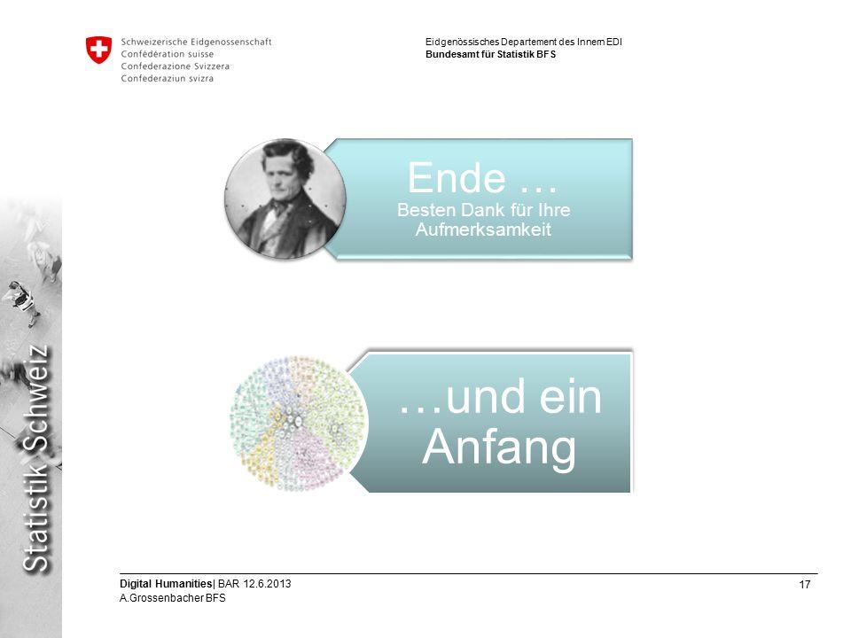 17 Digital Humanities| BAR 12.6.2013 A.Grossenbacher BFS Eidgenössisches Departement des Innern EDI Bundesamt für Statistik BFS Ende … Besten Dank für Ihre Aufmerksamkeit …und ein Anfang