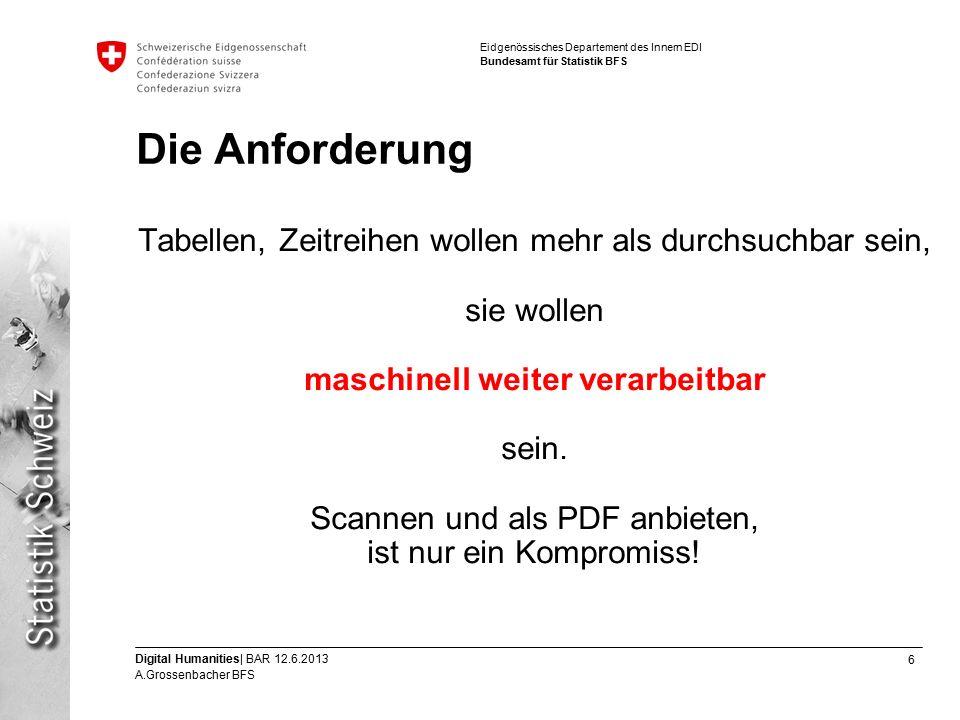 6 Digital Humanities| BAR 12.6.2013 A.Grossenbacher BFS Eidgenössisches Departement des Innern EDI Bundesamt für Statistik BFS Die Anforderung Tabellen, Zeitreihen wollen mehr als durchsuchbar sein, sie wollen maschinell weiter verarbeitbar sein.
