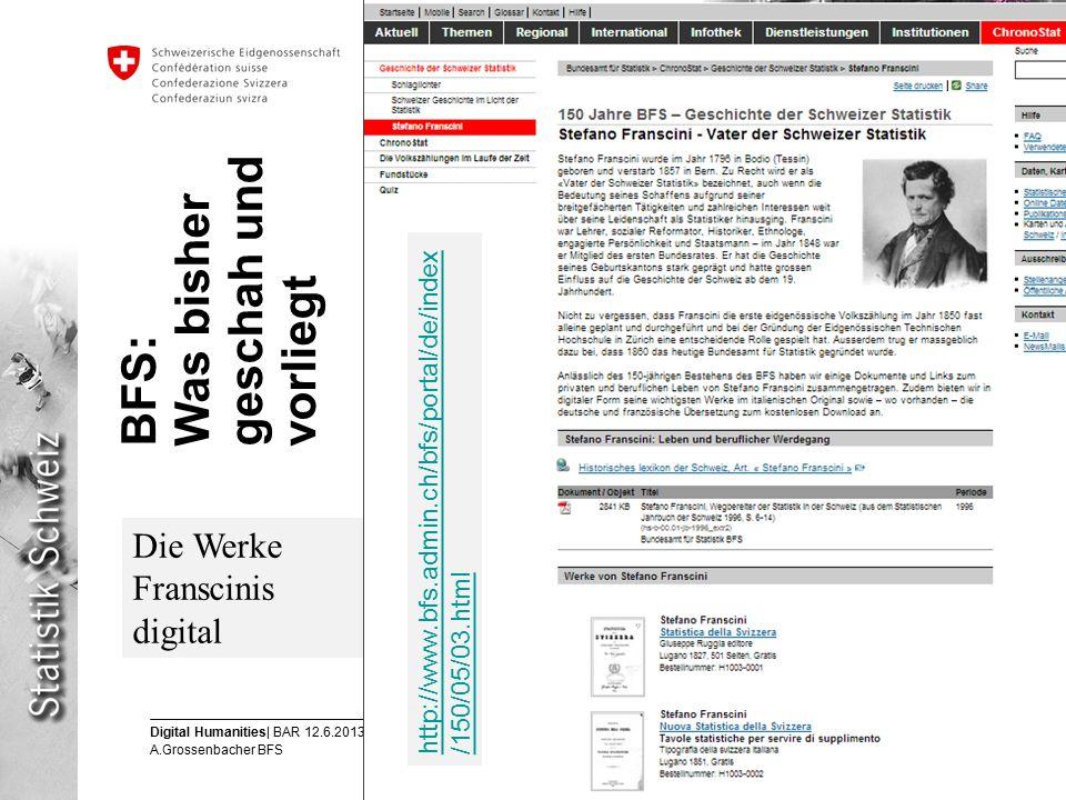 7 Digital Humanities| BAR 12.6.2013 A.Grossenbacher BFS Eidgenössisches Departement des Innern EDI Bundesamt für Statistik BFS Die Werke Franscinis digital BFS: Was bisher geschah und vorliegt http://www.bfs.admin.ch/bfs/portal/de/index /150/05/03.html