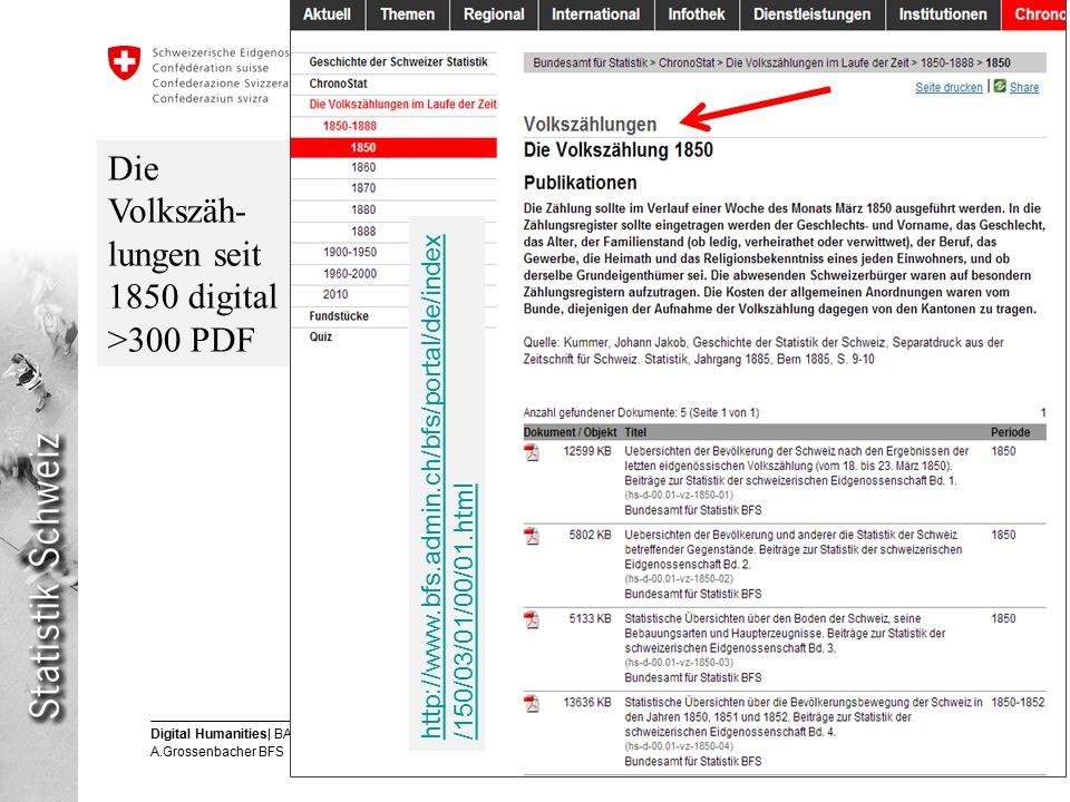 8 Digital Humanities| BAR 12.6.2013 A.Grossenbacher BFS Eidgenössisches Departement des Innern EDI Bundesamt für Statistik BFS Die Volkszäh- lungen seit 1850 digital >300 PDF http://www.bfs.admin.ch/bfs/portal/de/index /150/03/01/00/01.html