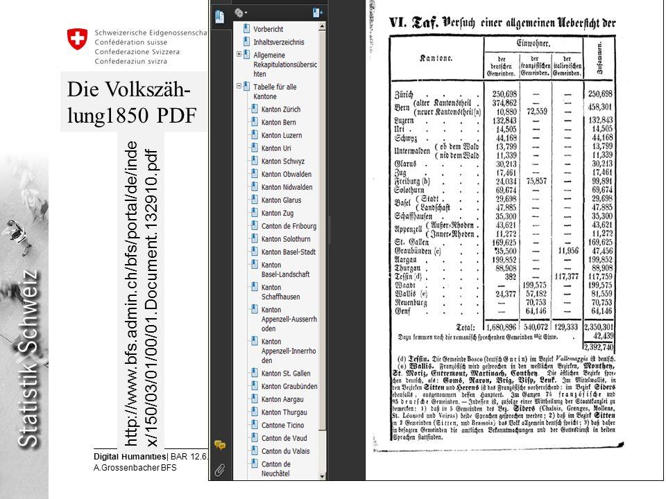 9 Digital Humanities| BAR 12.6.2013 A.Grossenbacher BFS Eidgenössisches Departement des Innern EDI Bundesamt für Statistik BFS http://www.bfs.admin.ch/bfs/portal/de/inde x/150/03/01/00/01.Document.132910.pdf Die Volkszäh- lung1850 PDF