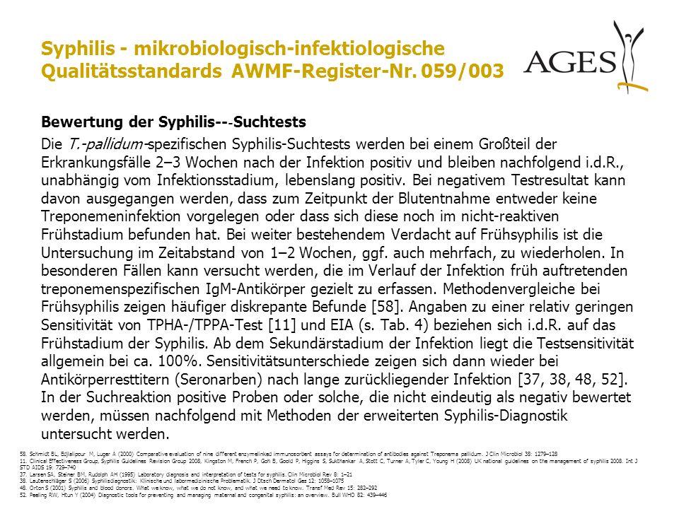 Syphilis - mikrobiologisch-infektiologische Qualitätsstandards AWMF-Register-Nr. 059/003 Bewertung der Syphilis-- ‐ Suchtests Die T.-pallidum-spezifis