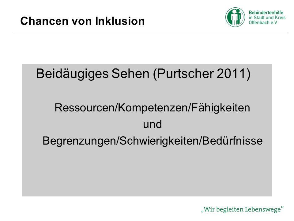Chancen von Inklusion Beidäugiges Sehen (Purtscher 2011) Ressourcen/Kompetenzen/Fähigkeiten und Begrenzungen/Schwierigkeiten/Bedürfnisse