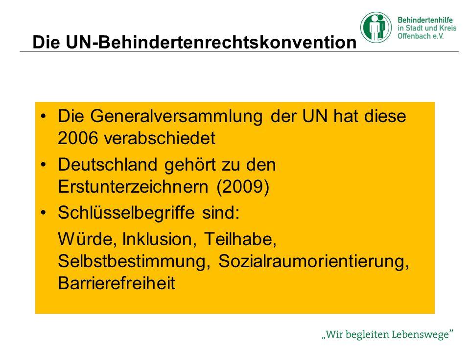 Die UN-Behindertenrechtskonvention Ziel der UN-BRK ist es, eine volle und gleichberechtigte Teilhabe an allen Menschenrechten und Grundfreiheiten für alle Menschen mit Behinderung zu fördern, zu schützen und zu gewährleisten (Art.1), Allgemeine Grundsätze sind: Die Achtung der Würde und der Unterschiedlichkeit, der Autonomie, Unabhängigkeit, Freiheit für eigene Entscheidungen sowie Nichtdis- kriminierung und Gleichberechtigung (Art.3)
