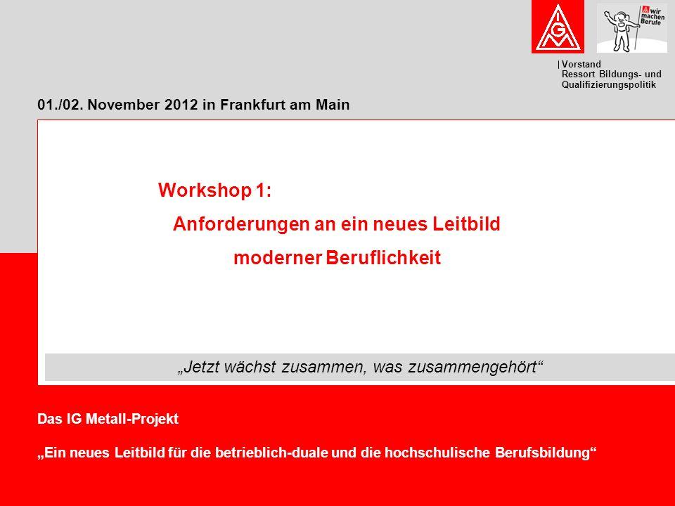 """Vorstand Ressort Bildungs- und Qualifizierungspolitik 01./02. November 2012 in Frankfurt am Main Das IG Metall-Projekt """"Ein neues Leitbild für die bet"""