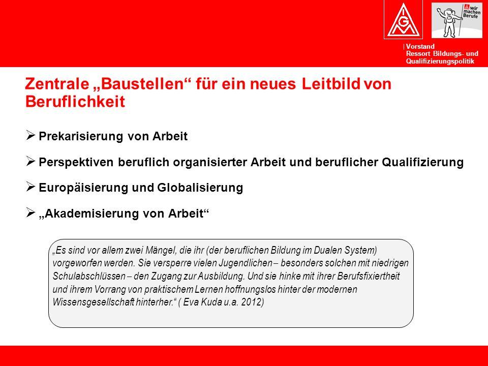 """Vorstand Ressort Bildungs- und Qualifizierungspolitik Zentrale """"Baustellen"""" für ein neues Leitbild von Beruflichkeit  Prekarisierung von Arbeit  Per"""