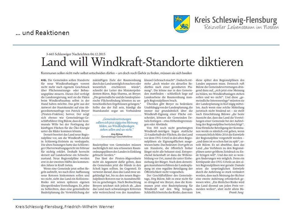 Kreis Schleswig-Flensburg, Friedrich-Wilhelm Wenner … und Reaktionen