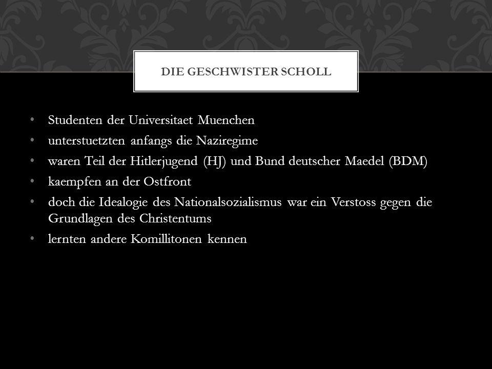 Studenten der Universitaet Muenchen unterstuetzten anfangs die Naziregime waren Teil der Hitlerjugend (HJ) und Bund deutscher Maedel (BDM) kaempfen an