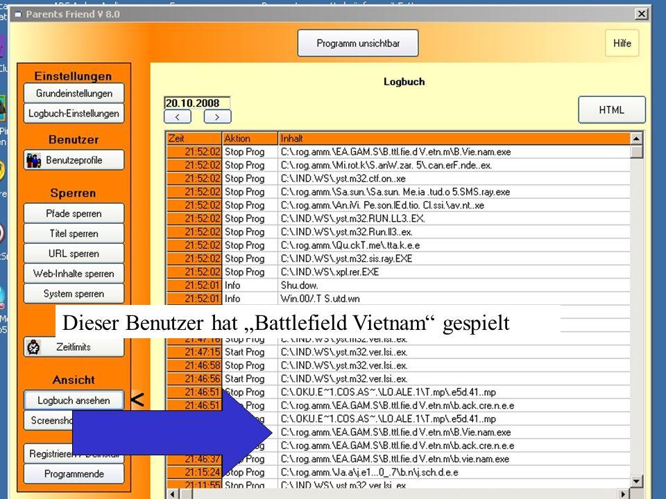 """Dieser Benutzer hat """"Battlefield Vietnam"""" gespielt"""