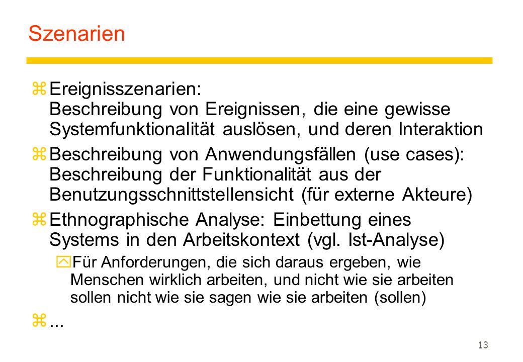 12 Systemanalyse: Einsatzszenarien Lastenheft Pflichtenheft Szenarien- Modelle Produkt- modell Handbuch Glossar Benutzungs- schnittstelle