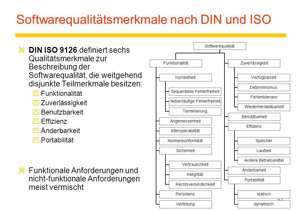 35 Softwarequalität: Das FCM-Modell zFactors-Criteria-Metrics-Modell: yQuality Factors beschreiben benutzerorientierte Qualitätsmerkmale (QMs) der Software.