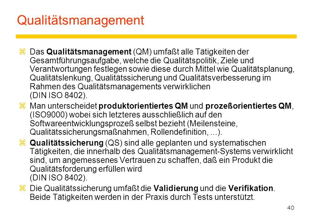 39 Beispiel: Qualitätsstufen nach ISO 9126 voll geeignet gut geeignet ausreichend geeignet schlecht geeignet Maßskala Meßwert Qualitätsstufen Qualitätseinstufung akzeptabel nicht akzeptabel