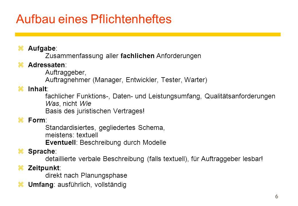 5 Produktdefinition zZiel: Projektvertrag = Produktdefinition (Pflichtenheft, Produktmodell, Konzept für Benutzungsoberfläche, Benutzerhandbuch) + Zahlungsbedingungen + Garantie + Projektplan +...