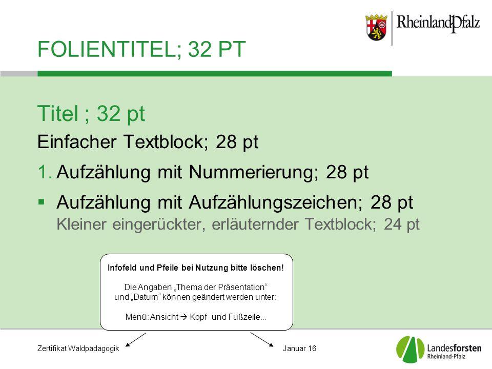 Zertifikat WaldpädagogikJanuar 16 FOLIENTITEL; 32 PT Titel ; 32 pt Einfacher Textblock; 28 pt 1.Aufzählung mit Nummerierung; 28 pt  Aufzählung mit Au
