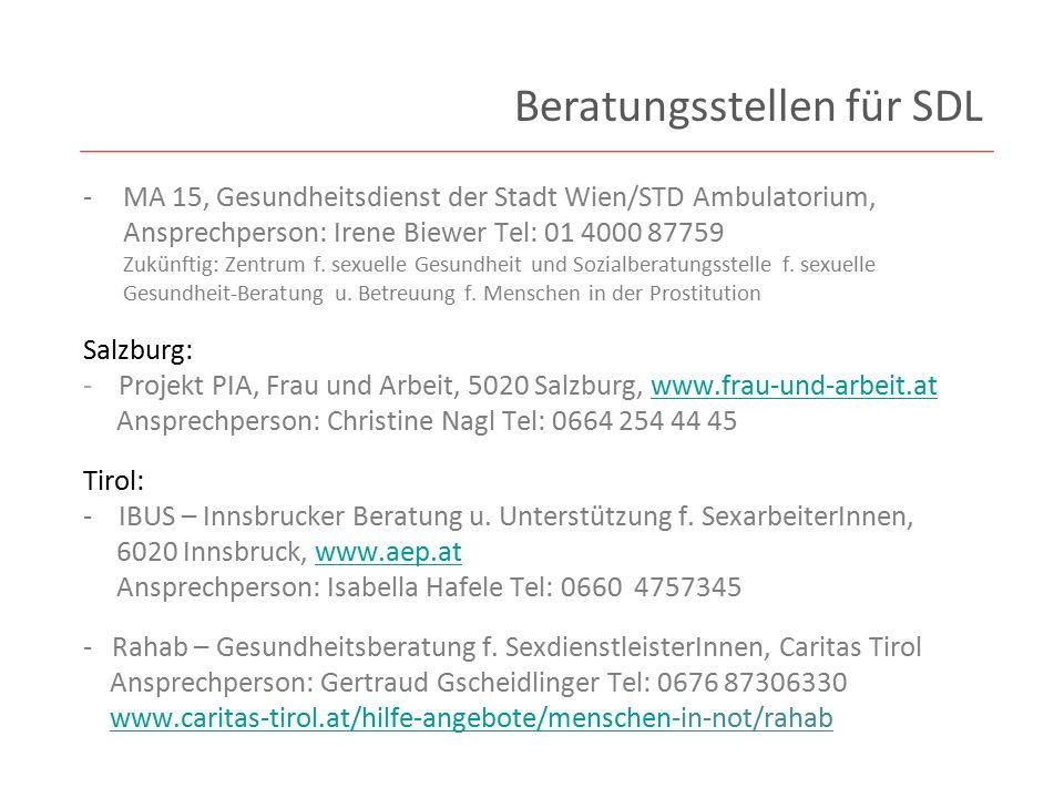 Kärnten: - Caritas Kärnten, Beratungsstelle Talitha, 9010 Klagenfurt, www.caritas-kaernten.at Ansprechperson: Sr.