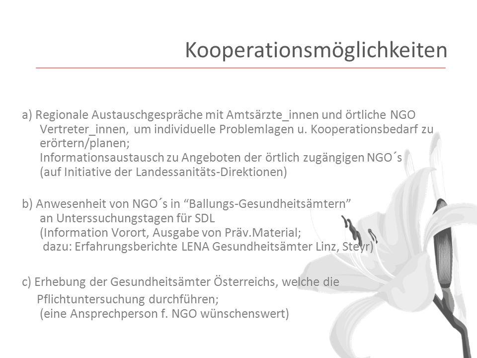 a) Regionale Austauschgespräche mit Amtsärzte_innen und örtliche NGO Vertreter_innen, um individuelle Problemlagen u.