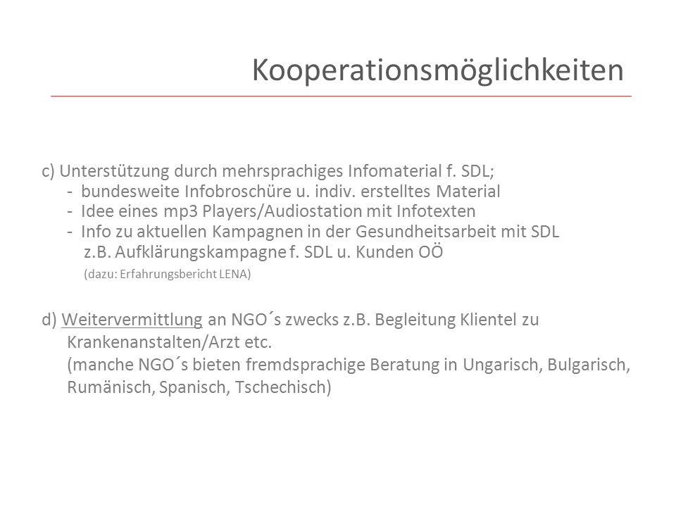 c) Unterstützung durch mehrsprachiges Infomaterial f.