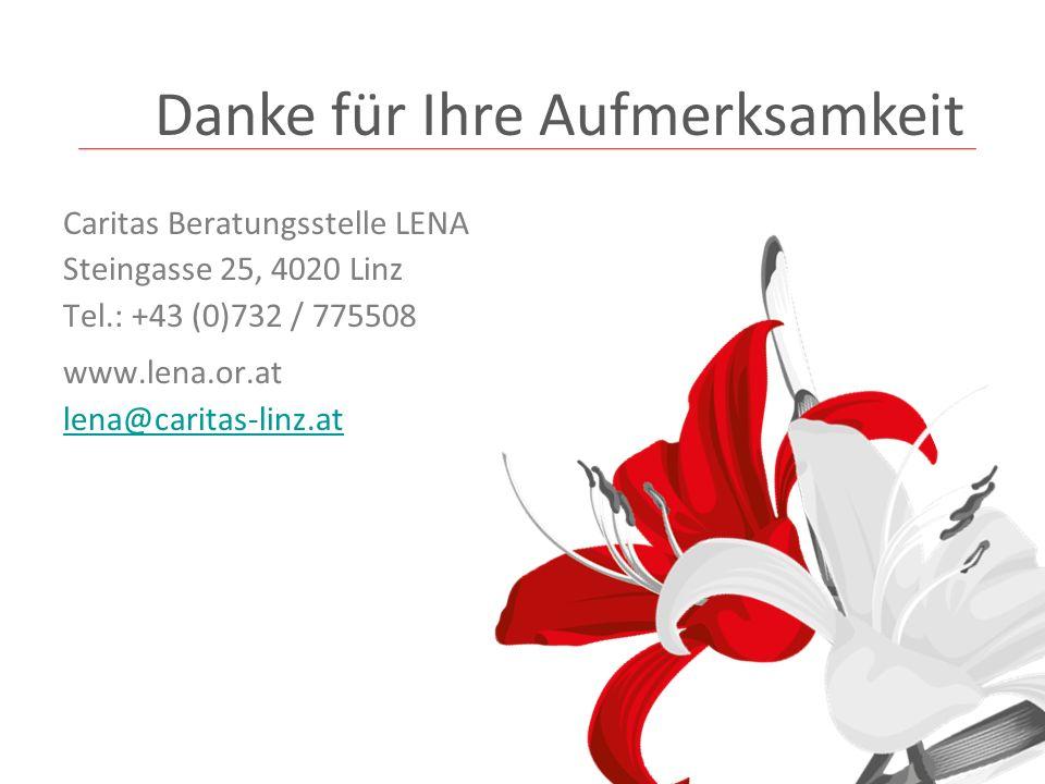 Caritas Beratungsstelle LENA Steingasse 25, 4020 Linz Tel.: +43 (0)732 / 775508 www.lena.or.at lena@caritas-linz.at Danke für Ihre Aufmerksamkeit