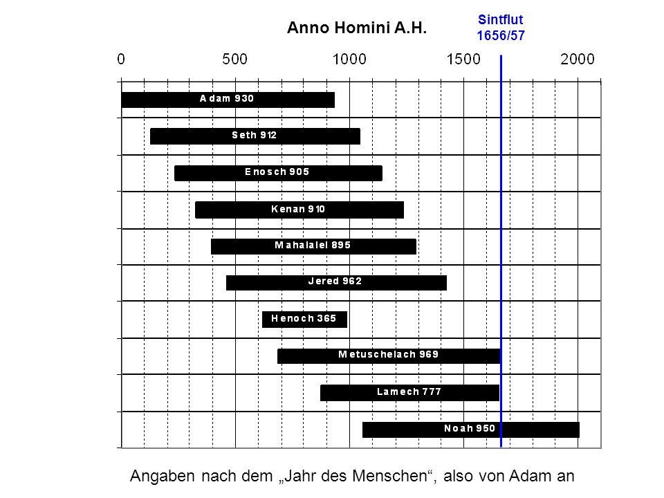 """Anno Homini A.H. Angaben nach dem """"Jahr des Menschen , also von Adam an Sintflut 1656/57"""