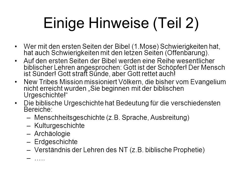 Einige Hinweise (Teil 2) Wer mit den ersten Seiten der Bibel (1.Mose) Schwierigkeiten hat, hat auch Schwierigkeiten mit den letzen Seiten (Offenbarung).