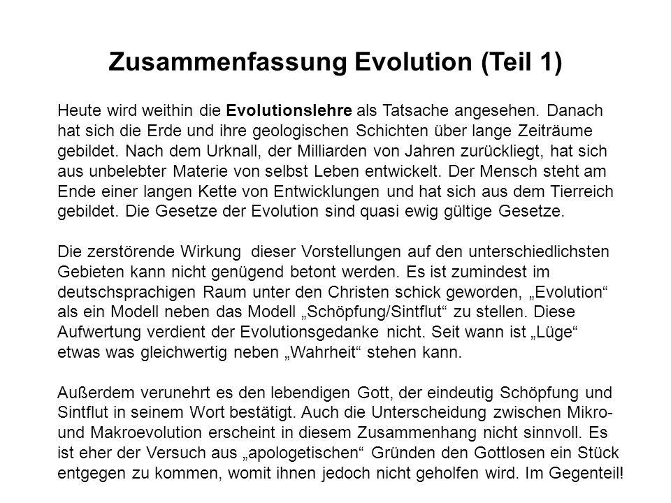 Heute wird weithin die Evolutionslehre als Tatsache angesehen. Danach hat sich die Erde und ihre geologischen Schichten über lange Zeiträume gebildet.