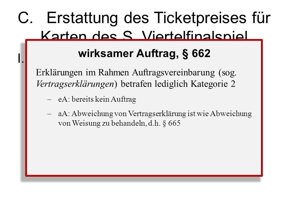 C.Erstattung des Ticketpreises für Karten des S, Viertelfinalspiel I.Anspruch F gegen S aus § 670 1.wirksamer Auftrag.