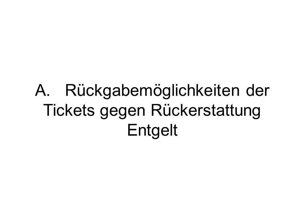 A.Rückgabemöglichkeiten der Tickets gegen Rückerstattung Entgelt
