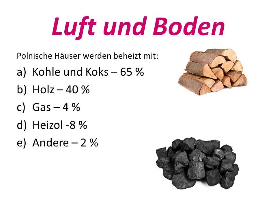 Luft und Boden Polnische Häuser werden beheizt mit: a)Kohle und Koks – 65 % b)Holz – 40 % c)Gas – 4 % d)Heizol -8 % e)Andere – 2 %