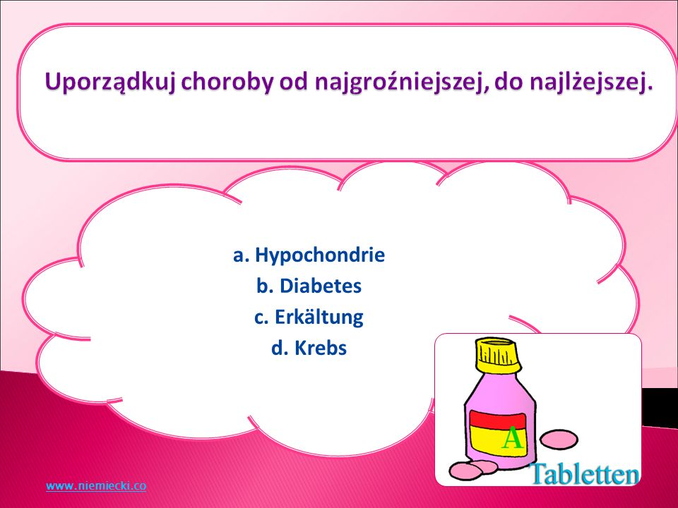 a. Hypochondrie b. Diabetes c. Erkältung d. Krebs www.niemiecki.co