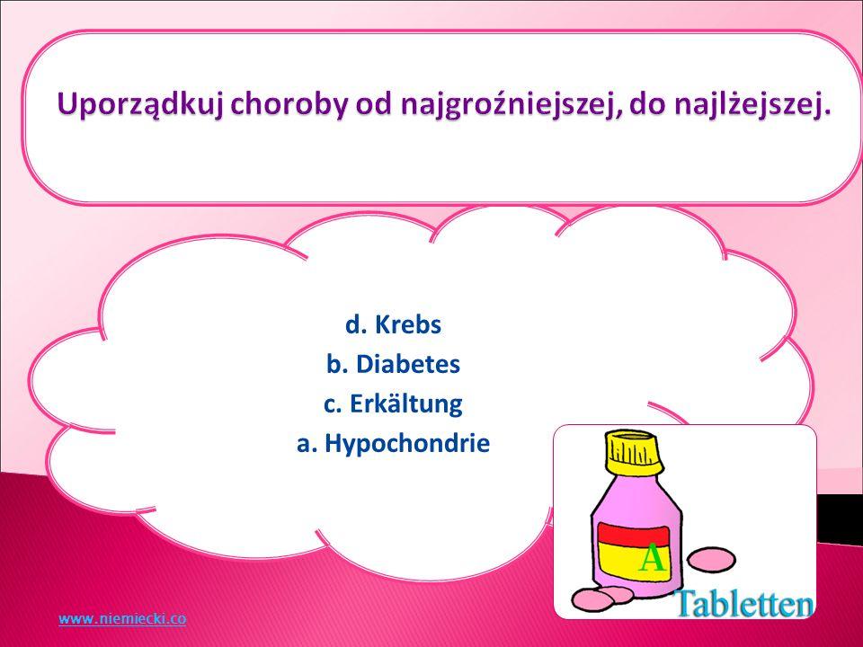 d. Krebs b. Diabetes c. Erkältung a. Hypochondrie www.niemiecki.co