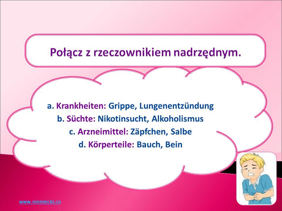 a. Krankheiten: Grippe, Lungenentzündung b. Süchte: Nikotinsucht, Alkoholismus c.