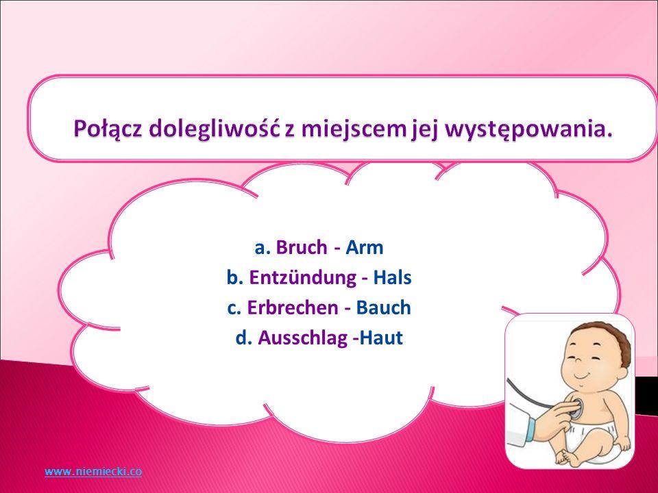 a. Bruch - Arm b. Entzündung - Hals c. Erbrechen - Bauch d. Ausschlag -Haut www.niemiecki.co
