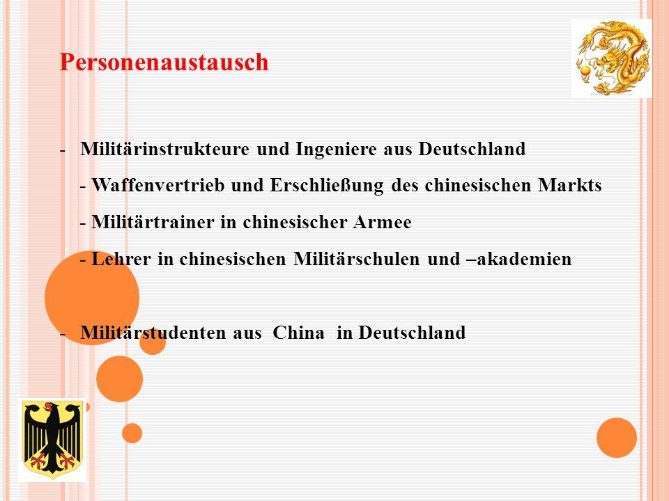 Personenaustausch -Militärinstrukteure und Ingeniere aus Deutschland - Waffenvertrieb und Erschließung des chinesischen Markts - Militärtrainer in chinesischer Armee - Lehrer in chinesischen Militärschulen und –akademien -Militärstudenten aus China in Deutschland