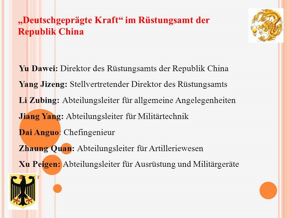 """""""Deutschgeprägte Kraft"""" im Rüstungsamt der Republik China Yu Dawei: Direktor des Rüstungsamts der Republik China Yang Jizeng: Stellvertretender Direkt"""