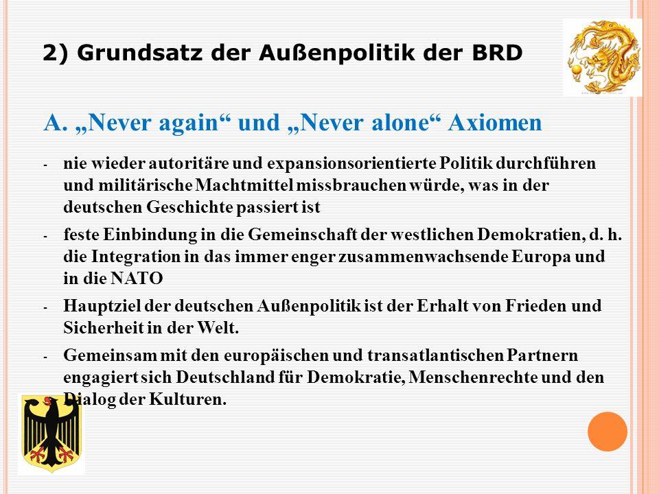 """A. """"Never again"""" und """"Never alone"""" Axiomen - nie wieder autoritäre und expansionsorientierte Politik durchführen und militärische Machtmittel missbrau"""