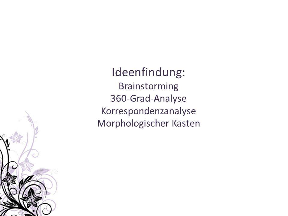 Ideenfindung: Brainstorming 360-Grad-Analyse Korrespondenzanalyse Morphologischer Kasten