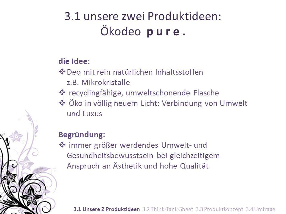 3.1 unsere zwei Produktideen: Ökodeo p u r e.