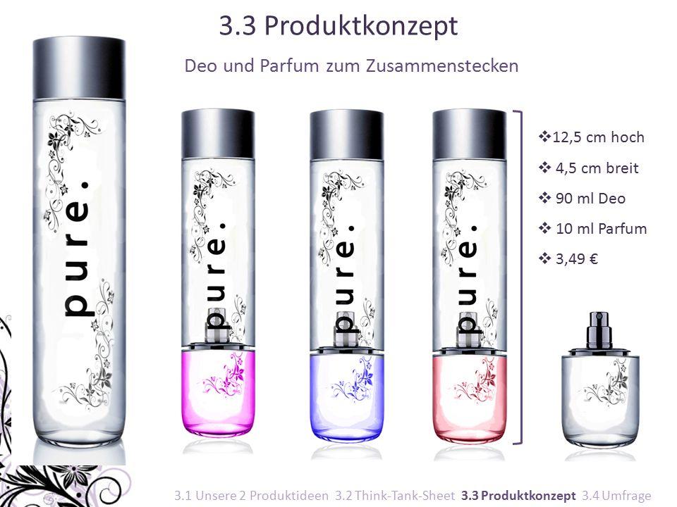 Deo und Parfum zum Zusammenstecken  12,5 cm hoch  4,5 cm breit  90 ml Deo  10 ml Parfum  3,49 € 3.3 Produktkonzept 3.1 Unsere 2 Produktideen 3.2 Think-Tank-Sheet 3.3 Produktkonzept 3.4 Umfrage