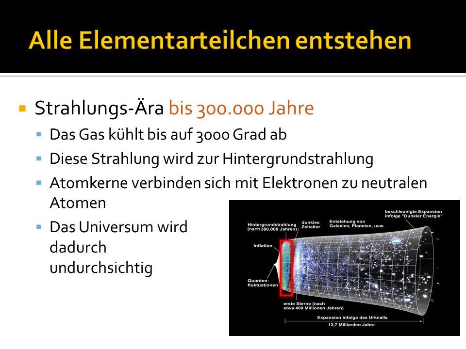  Strahlungs-Ära bis 300.000 Jahre  Das Gas kühlt bis auf 3000 Grad ab  Diese Strahlung wird zur Hintergrundstrahlung  Atomkerne verbinden sich mit