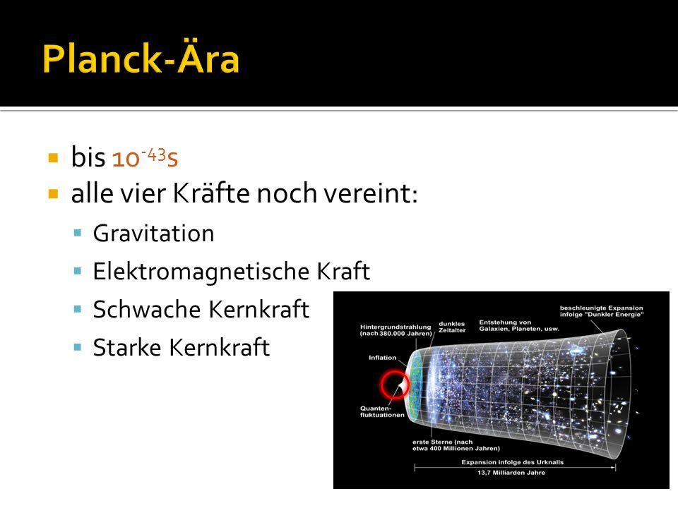  bis 10 -43 s  alle vier Kräfte noch vereint:  Gravitation  Elektromagnetische Kraft  Schwache Kernkraft  Starke Kernkraft