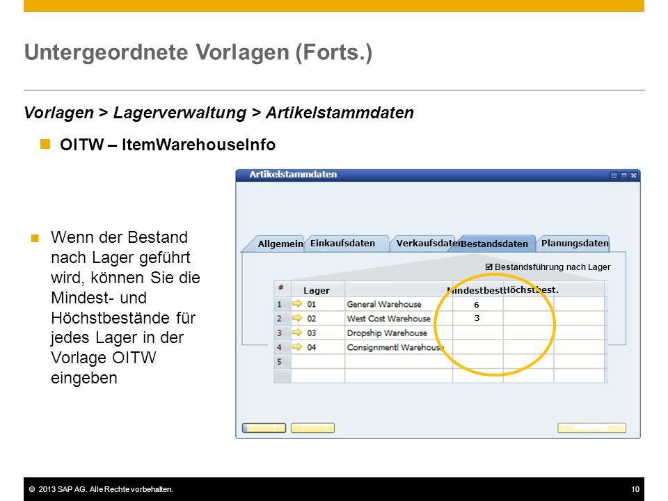 ©2013 SAP AG. Alle Rechte vorbehalten.10 Untergeordnete Vorlagen (Forts.) Allgemein EinkaufsdatenVerkaufsdaten Bestandsdaten Planungsdaten LagerMindes