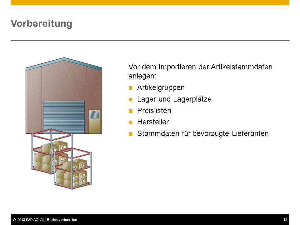 ©2013 SAP AG. Alle Rechte vorbehalten.12 Vorbereitung Vor dem Importieren der Artikelstammdaten anlegen: Artikelgruppen Lager und Lagerplätze Preislis