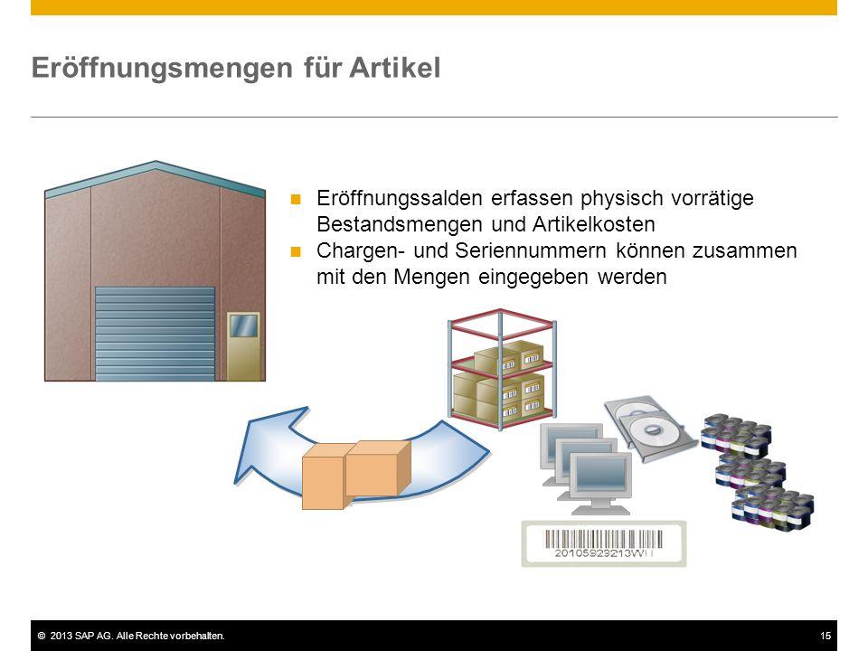 ©2013 SAP AG. Alle Rechte vorbehalten.15 Eröffnungsmengen für Artikel Eröffnungssalden erfassen physisch vorrätige Bestandsmengen und Artikelkosten Ch